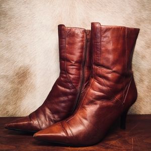 Nine West Nanteo Brown Leather Weathered Boots